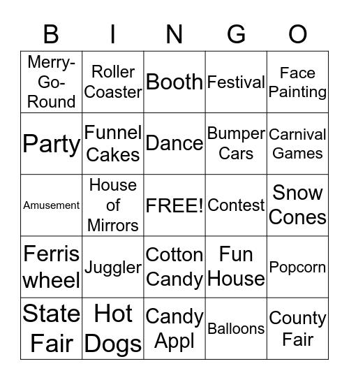CARINVAL THEMED  Bingo Card