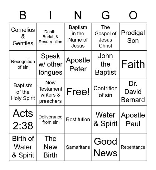 The New Birth Class Bingo Game Bingo Card