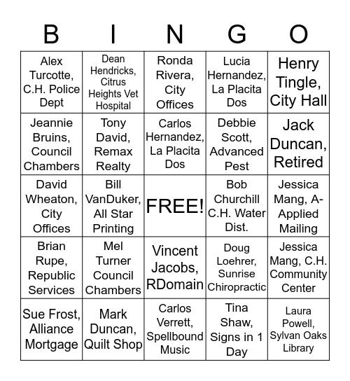 Citrus Heights Rotarian Bingo Card
