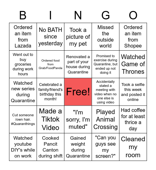 WFH/Online Bingo Card