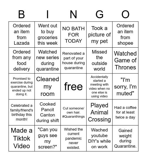 WFH/Online Bingo (Night) Bingo Card