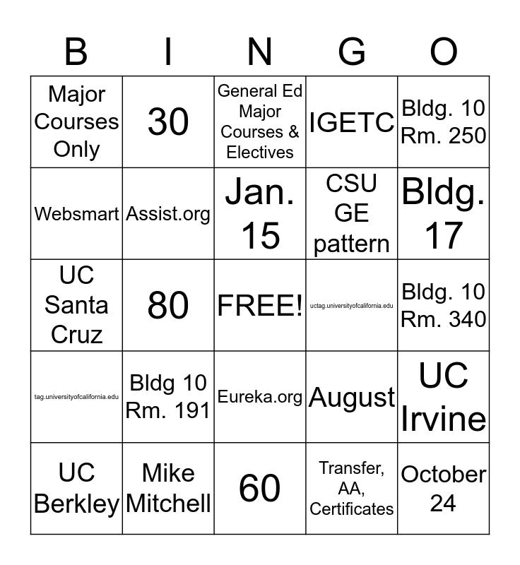 Academic Goals Bingo Card