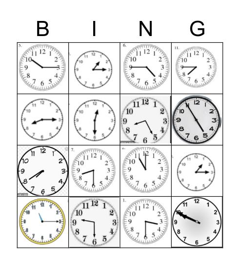 Clock reading Bingo Card