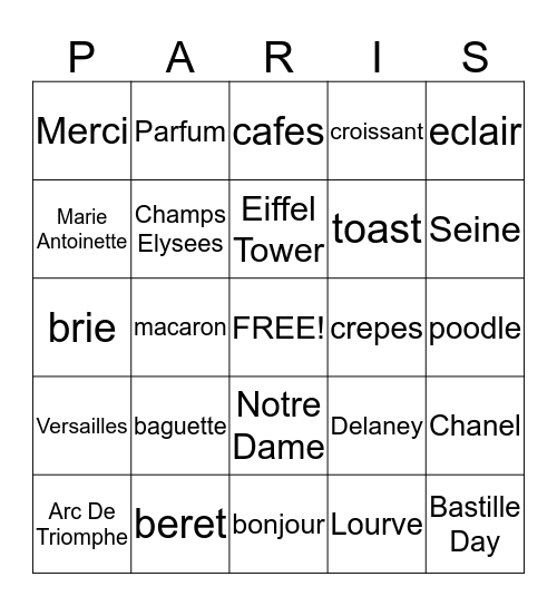 Bienvenue à Bingo Card