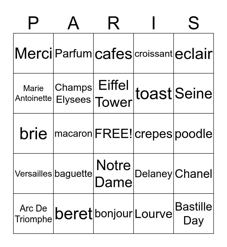 Bienvenue à Bingo Card