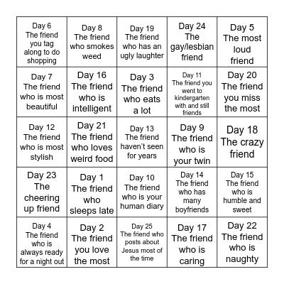 Friends ❤️ Bingo Card