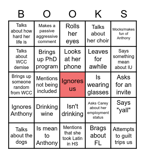 Bookstore Bingo Card
