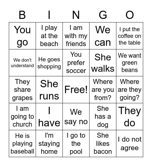 Present Tense! Bingo Card
