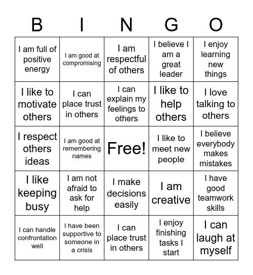 Self Advocacy Bingo Card