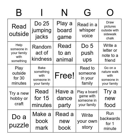 Weekly Bingo Challenge Bingo Card