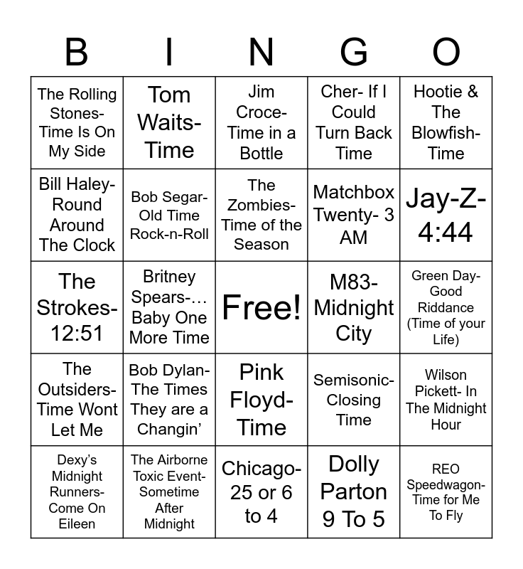Total-Quiz.com Presents Radio Bingo: Do You Have The Time? Bingo Card