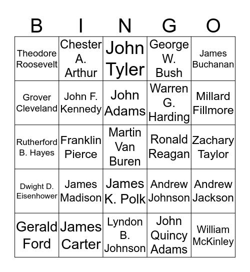U.S. Presidents Bingo Card