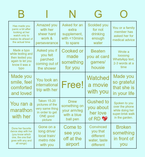 Ruchita's Quarantine Birthday Bingo Card