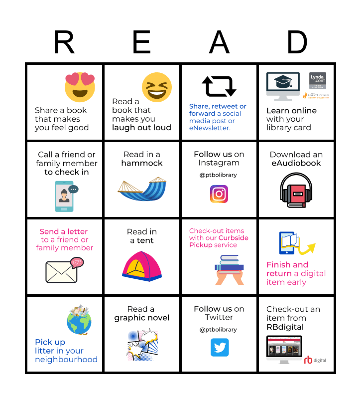 Peterborough Library Adult Summer Reading Challenge Bingo Card