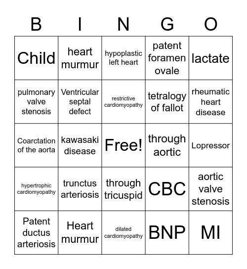 PEDI Bingo Card