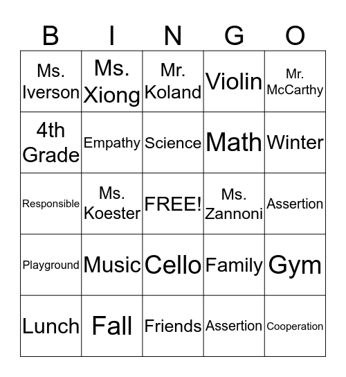 C.A.R.E.S. Bingo Card