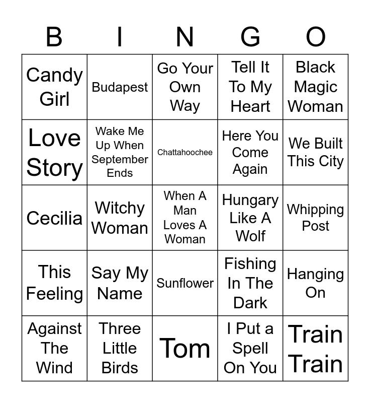 Music Bingo 57 Bingo Card