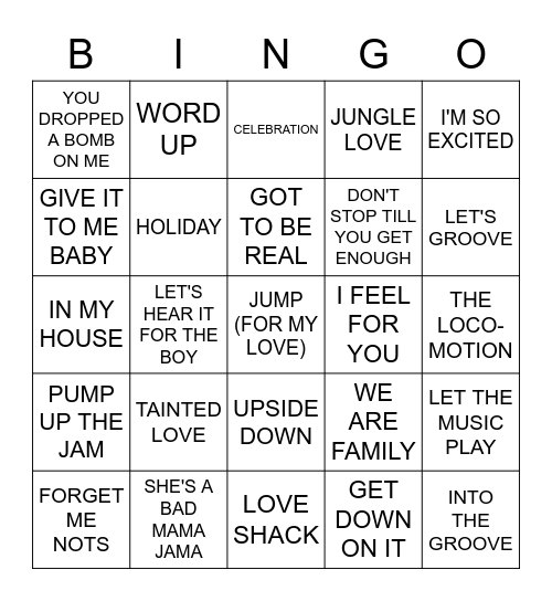 80'S DANCE Bingo Card
