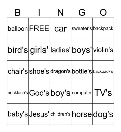 Possessive Nouns Bingo Card