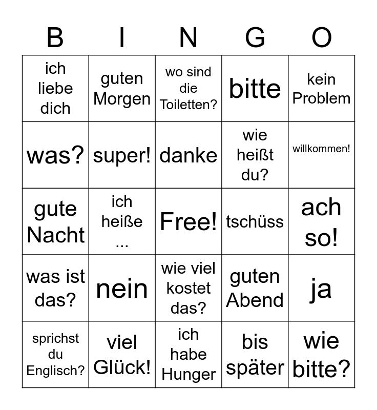 German Basics - Phrases and Greetings Bingo Card