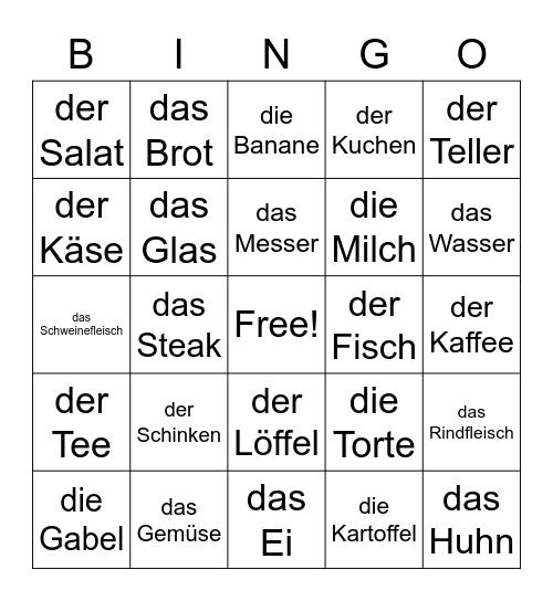 German - Food and Meals Bingo Card