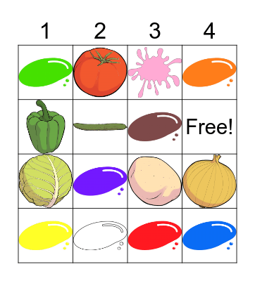 Vegetables and Colors Bingo Card