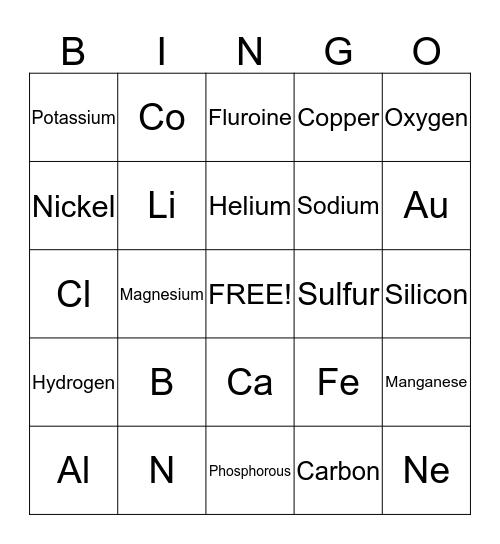 Elements BINGO Card