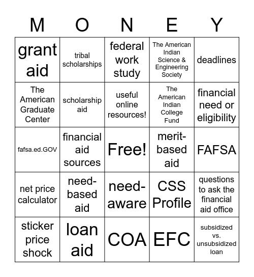 Affording College! Bingo Card