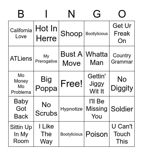 90s Hip Hop Bingo Card