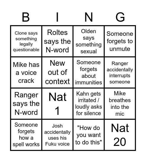 Dungeons & Spaceships presents: BINGO! Bingo Card