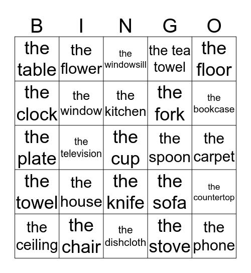 Engelse woordenbingo Card