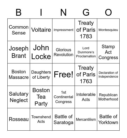 1700's History Bingo Card