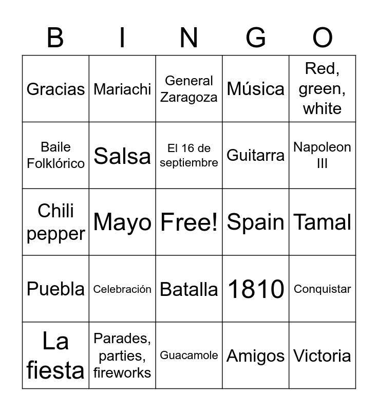 Mexico Bingo Card
