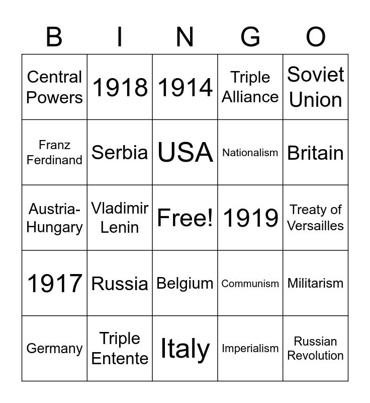 World War 1 Bingo Card