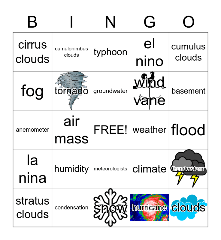 Weather Bingo Card