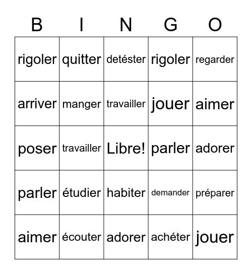 French -er verbs! Bingo Card