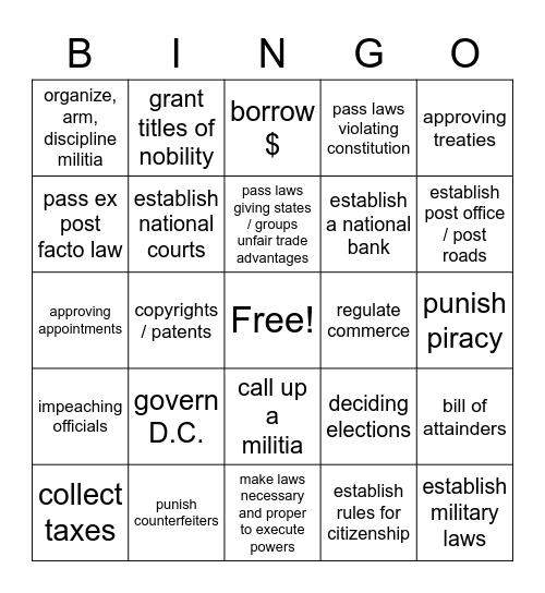 Power of Congress Bingo Card