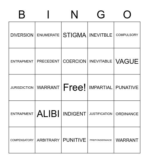 Law terms Bingo Card