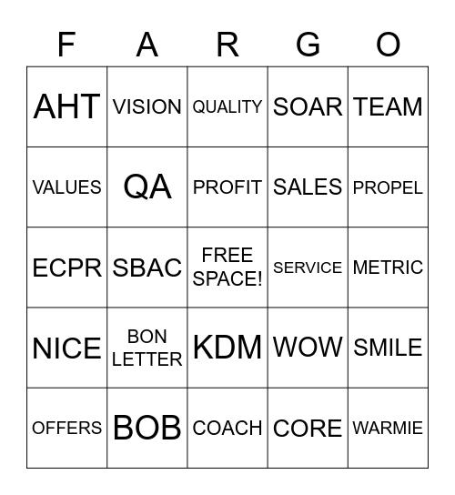 WELLS FARGO! Bingo Card