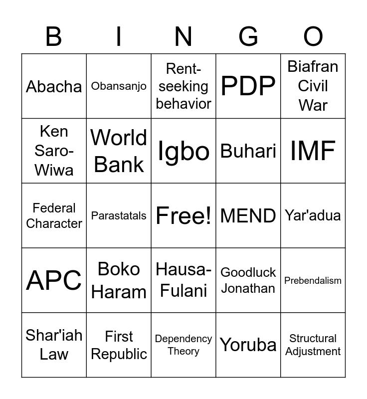 Nigeria BINGO! Bingo Card