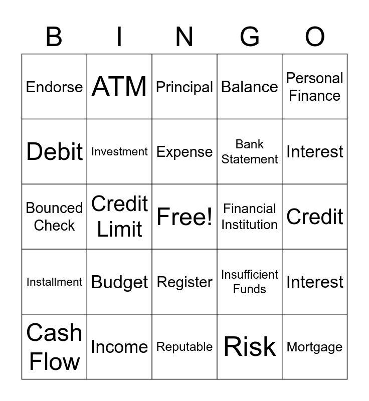 Finance terms Bingo Card