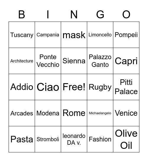 Italy Bingo Card