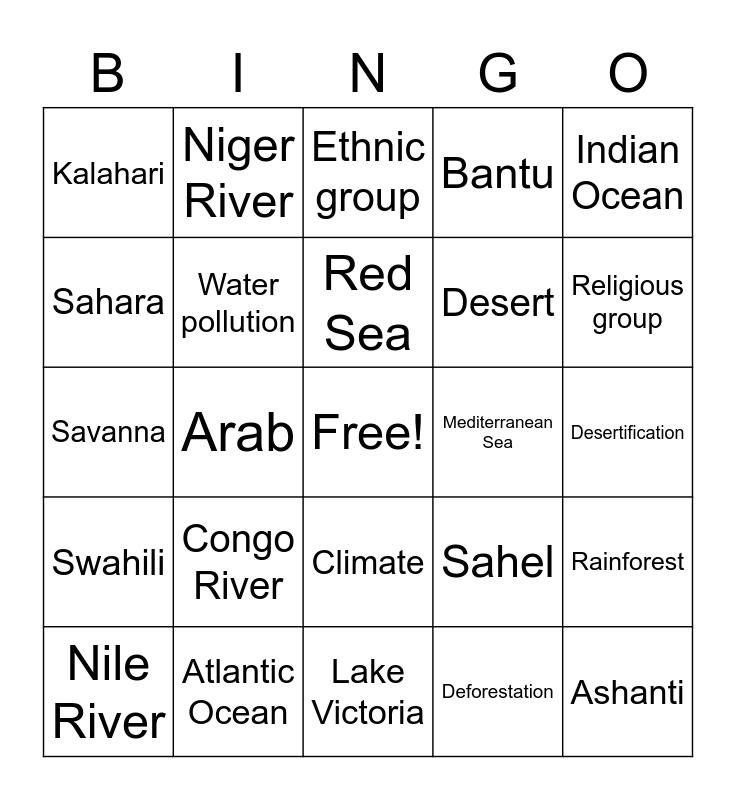 Landscapes Bingo Card