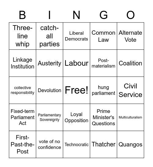 United Kingdom Politics Bingo Card