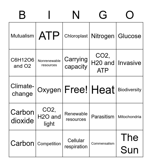 Ecology Bingo Card