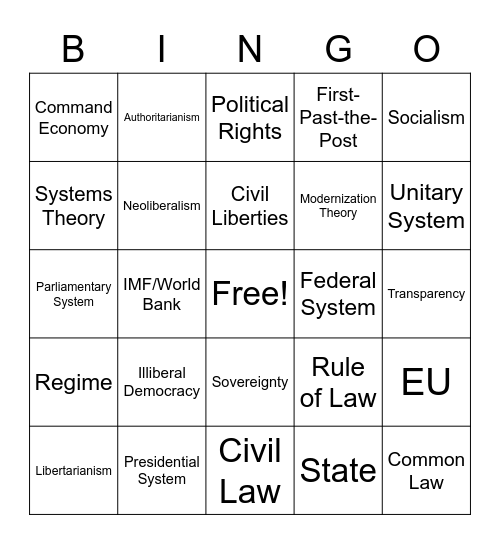 Civil Organizations Bingo Card
