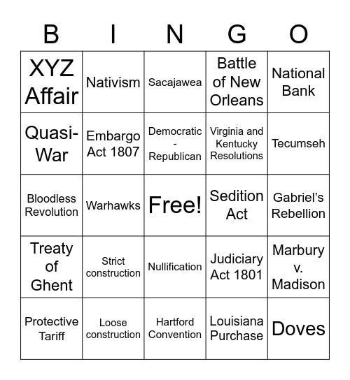 1800s US History Bingo Card