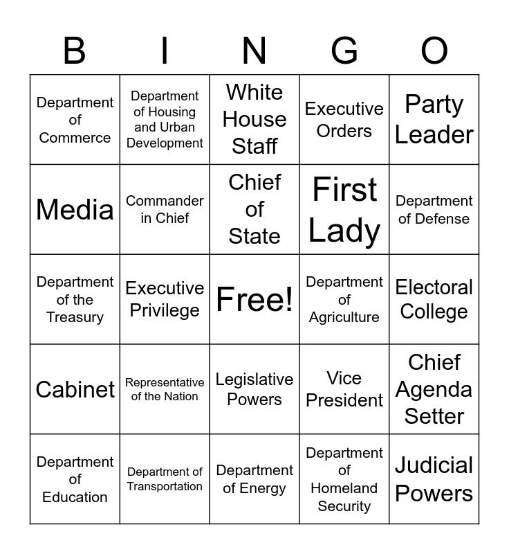 US Governance Bingo Card