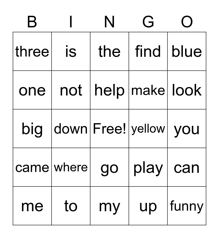 Primary Sight Word Bingo Card