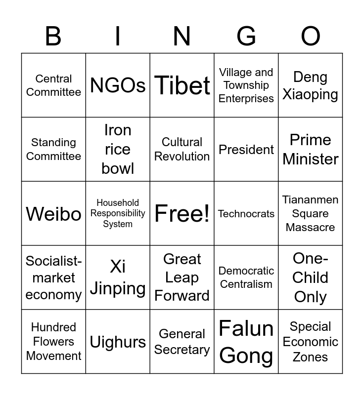 China Bingo Card